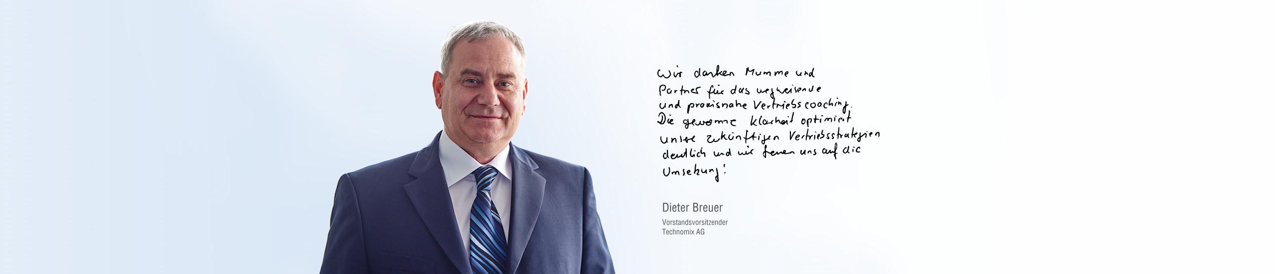 Vertriebscoaching und Vertriebstraining für die Fa. Technomix - Mumme & Partner in Stuttgart und München